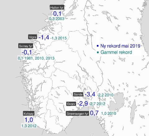 KALDT: Flere steder noterte seg for ny kulderekord i mai, deriblant Sande i Vestfold.