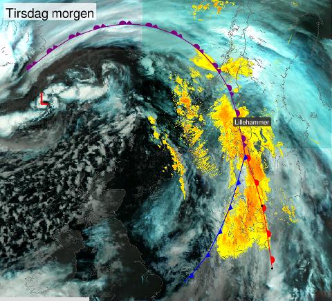 Slik ser været ut over Lillehammer og Norge tirsdag morgen - fotografert fra satellitt.