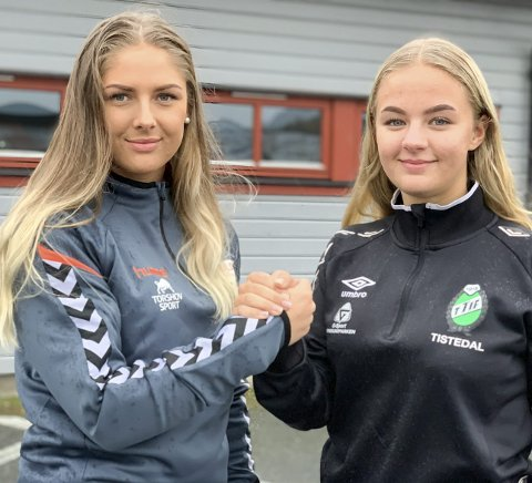LOKALOPPGJØR: Søndag møtes Emma Wang Johannessen (tv), Halden og Elina Amundsen, TTIF til lokaloppgjør i håndball i Tistedalshallen.