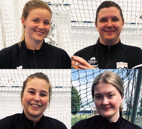 NYE I STALLEN: Charlotte Strømnes (oppe venstre), Benedicte Sørli Igletjern (oppe høyre), Lene-Cecilie Berger Engebretsen (nede venstre) og Thea Renstrøm (nede høyre) er alle nye i Halden Håndball.