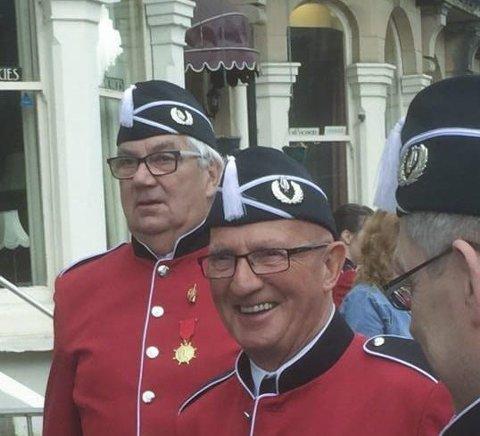 Veteraner: Per Gunnar Olsen (tv) og Fritz Johansen var med å starte korpset i 1956. Foto: PRIVAT.