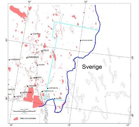 Det aktuelle måleområdet ligger innenfor den blå streken. De røde feltene viser verneområder der det må tas spesielle hensyn slik at ulempe for dyreliv og turisme blir holdt på et minimum.