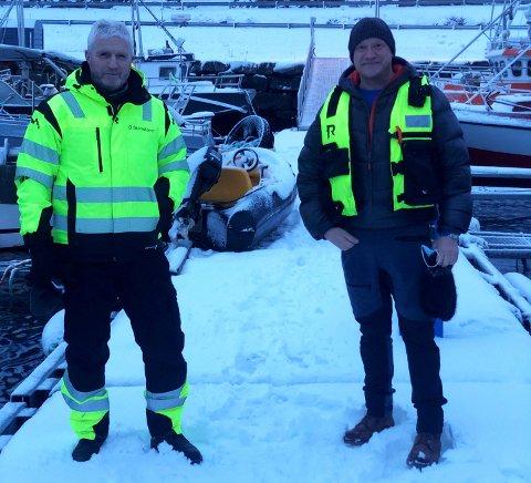 ELEKTRISK SAMARBEID: Odd Stensland (til venstre), teknisk ansvarlig sjø i Nova Sea, og markedssjef Greger Samuelsen i Folla Maritime Service satser på elektrifisering av havbruksflåten. Det blir det rekordkontrakt av.