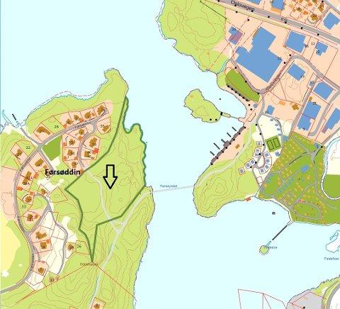 EIENDOM PÅ FØRSØDDIN: Eiendommen som er markert med pil ble solgt fra Daimex Eiendom as til Strandefjorden Park as i 2018. Salget omfattet også naboeiendommen, som er det tilstøtende området til høgre for avmerkingen. Foto: Skjermdump Valdreskart.no