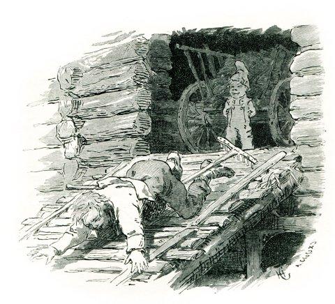 KLASSIKER.: Hans Gudes tegning av da Matthias Skytter møtte nissen på Laskerud.