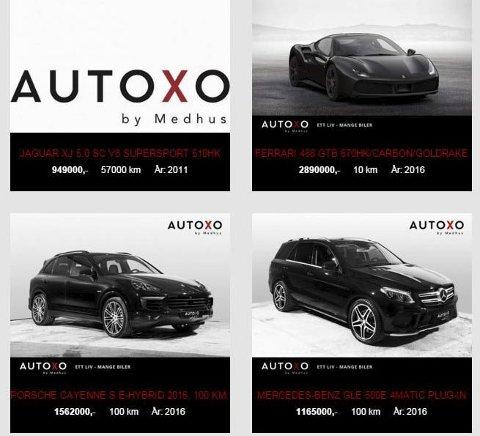 Øverste hylle: Katalogen til AutoXo har bare biler fra toppsjiktet.foto: Skjermdump fra Autoxo.no