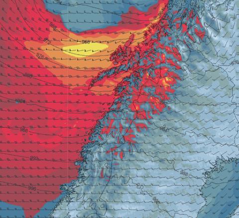 FRISKT: Vinden som kommer inn langs kysten på søndag og mandag vil gå opp til liten storm langs kysten og full storm utsatte steder, sier meteorologen.