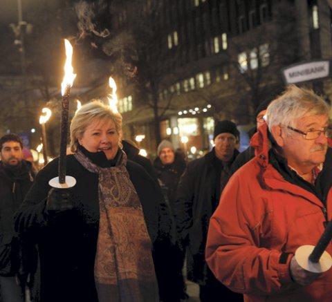 Statsminister Erna Solberg holdt appell under markeringen av Krystallnatten i fjor.FOTO: NTB SCANPIX