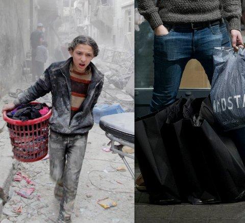 Ikke samme verden?: Så ulik er førjulstiden for gutten som har samlet sammet sine eiendeler og flykter fra hjembyen Aleppo, og for en ung nordmann på shopping. (Foto: Reuters og NTB Scanpix)