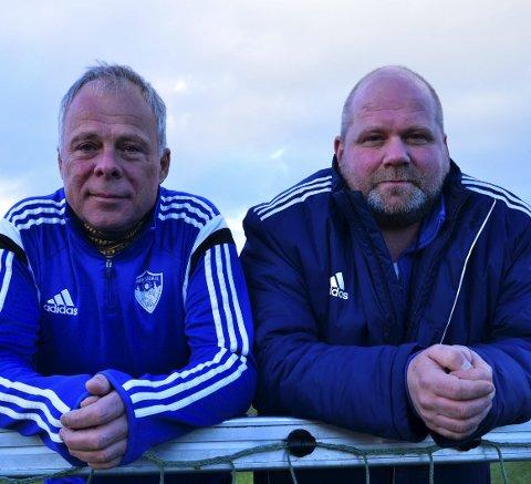 SJEFENE: Vidar Løkken (til høyre) og Odd Arne Knudsen fortsetter som hovedtrener og assistenttrener for Harestuas seniorlag.