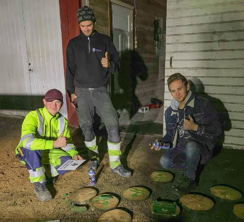ET BUDSKAP: Botne Hillestad Bygdeungdomslag har sprayet flere treskiver og lagt ut disse rundt om i Holmestrand den siste kvelden i oktober, og på de står det et viktig budskap.