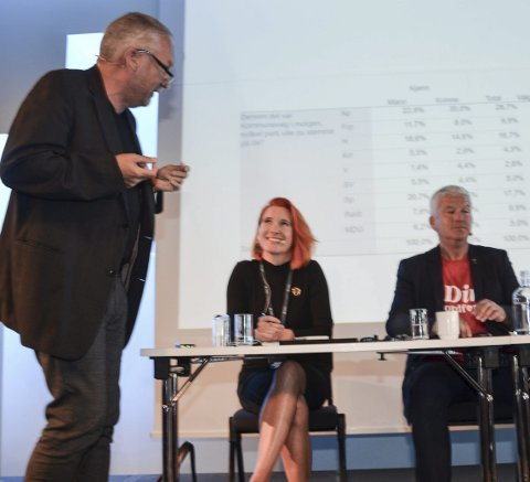 Ordstyrer: Sjefredaktør Ove Mellingen i TA ledet paneldebatten. Her med Charlotte Therkelsen Sætersdal (Rødt) og Jone Blikra (Ap).