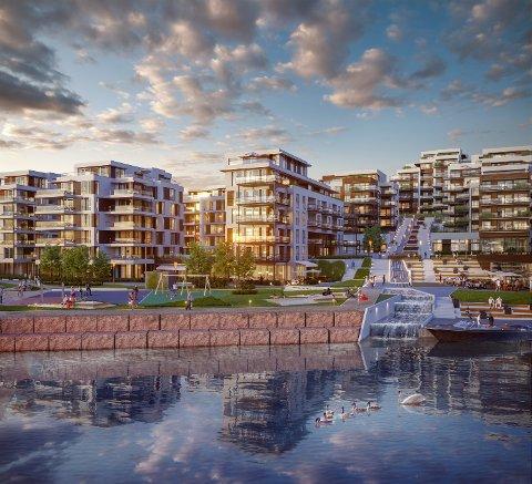 BRYGGEPARKEN: Den delen av NJB som det søkes dispensasjon for består av både restaurant og bakeri i tillegg til over 60 leiligheter.