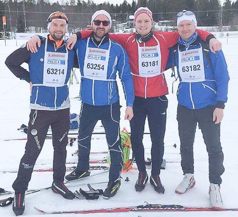 Langrenn: Fredagsbirken: Brødreduell: Bjørn Ivar (f.v.), Per Øyvind, Knut Andre og Ole Christian Vold.