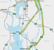 Det er den grønnmerkede traseen til høyre i kartet som i dag består av riksvei 111 og riksvei 22, men som i framtiden skal bare hete riksvei 22.