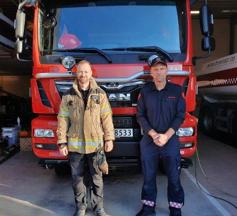 BRED STØTTE: Utrykningsleder Frode Grindland (t.v) har med seg hele brannstasjonen og mange flere i sin støtte til Glenn Ivar Knabenes.