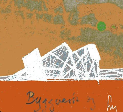 – Tenk om vi hadde vært såpass oppegående at vi hadde evnet å kunne markere fysisk at vi hadde noe som virkelig satte byen på kartet internasjonalt. (Tenkt museum: The Roald Amundsen Building.) Tegning: Svenn  Martinsen