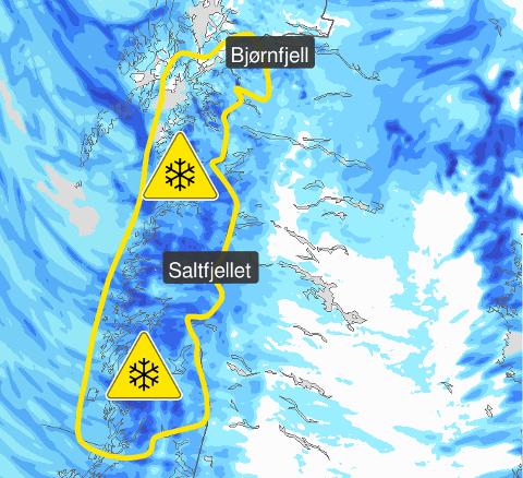 FAREVARSEL: Meteorologisk institutt har sendt ut farevarsel for de kommende dagene i deler av Nordland.