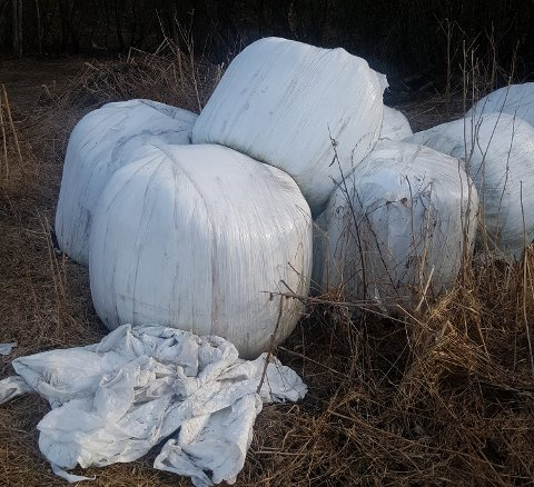 Gudbrandsdal Sportsfiskeforening har tatt disse bildene langs Lågen i midtdalen. Store mengder rundballer med plasten på ligger henslengt flere steder.
