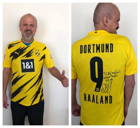OVERRASKET: Alf Inge Jåtten fikk en overraskende gave fra fotballidolet Erling Braut Haaland med denne signerte drakta.