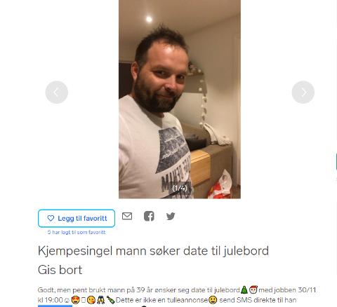 ANNONSEN: Morten Erling Johansen (39) fra Porsgrunn gis bort på finn.no.