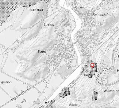 VAR TEGNET INN: Kartet viser områder der en må utvise aktsomhet for steinsprang.Kartet viser potensielle løsneområder (mørk grå farge)- og utløpsområder (lys grå farge) og dette stemmer med gårsdagens ras i Kvinesdal (merket med rød markør).