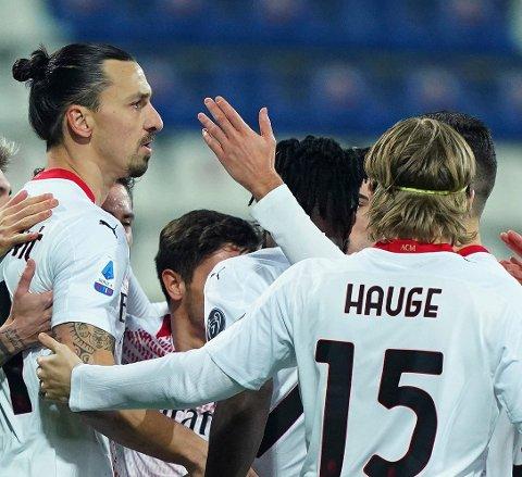 Gryende vennskap: Her feirer den svenske superspissen og den lovende kantspilleren fra Bodø en av mange mål for AC Milan denne sesongen, og forholdet dem i mellom bare vokser.