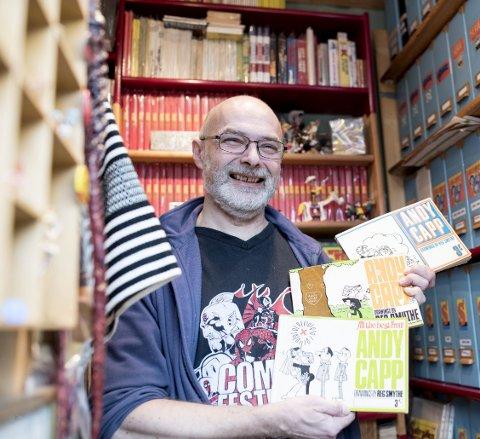 I KOTTET: Andy Capp- blodfan Trond Stien gleder seg over at tegneseriehelten             er på plass igjen i BA. – Jeg er helt fra meg av begeistring, sier 58-åringen. FOTO: SKJALG EKELAND