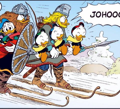 Knirkebeinerne: Her er Donald, Ole, Dole og Doffen tatt hånd om av knirkebeinerne og på veg over fjellet.Tegninger: Arild Midthun/Copyright Walt Disney