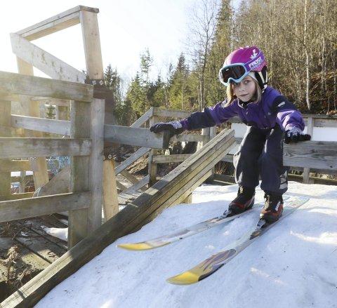 Fikk skiene dagen før: – Jeg hopper på lånte ski, sa Aurora Eriksrud, som bor i Sande, men som hopper for Hof idrettslag. Foto: Pål Nordby