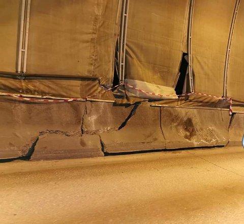 STERKE KREFTER:  Skadene på betongen viser at det har vært sterke krefter i sving