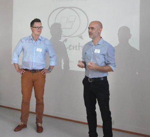Stig-Endre Tryggestad Elvevoll og Tor Kristian Sørensen vil inspirere de unge til å bli i skolen.