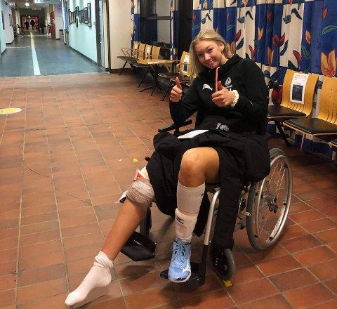 Skadet: Emily Poole havnet hos legevakten etter skaden i Randaberghallen.