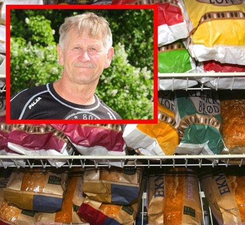 BRØDBYTTE: Svein Lamo trodde han kjøpte et bedre og litt dyrere landbrød, men kom hjem med billig-kneip i brødposen. Nå ber han kunder og betjening sjekke hva som er i posen. Foto: Kristin Haagensen/arkiv (innfelt) / Scanpix