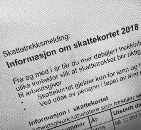 Ta en sjekk: Nå kan du sjekke opplysningene om  skattekortet for 2018. Logg på skatteetaten.no. Foto: På andreassen