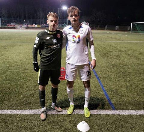 BRØDRENE MØTTES: Markus Rekdal (til høyre) har allerede rukket å møte lillebror Thomas Rekdal til treningskamp på tysk jord.