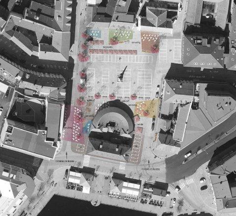 SKISSE 2: Her kommer forslag nummer to fra «Sorte Maske». Her er det fortsatt parkering på store deler av Torget men det er lagt opp flere plasser for servering og handel både nord og syd på den store plassen.