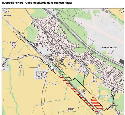 STRAMMER INN: Det svarte stiplede feltet er planområdet for togparkeringen på Gon. Bane NOR tror nå at det ikke blir behov for å bruke de rødskraverte arealene. I det grønnskraverte området er arkeologiske registreringer allerede gjort.