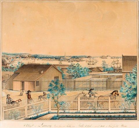 BØR TILBAKE TIL LARVIK: Akvarellen «Udsigt av Laurvig tagen fra min boelig paa Fritzö ö verk i aaret 1814» av Carl Gustaf Ström er nå til salgs på Galleri Bygdøy allé.