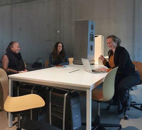 NY MØTEPLASS: I september åpner en ny kafé i Sarpsborg. Prosjektgruppa består av blant annet Leyla Zelda (t.v.), Ann-Karine Forsberg Larsen og Tone Petronelle Sørlie.