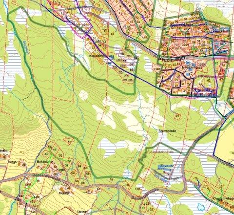 Plankart: Det er nordvest for Beitostølen, på nedsida av fylkesveg 51, at planarbeidet no nærmar seg ei sluttfase. Her kan det koma 150 nye hytter og 200 – 300 leilegheiter.