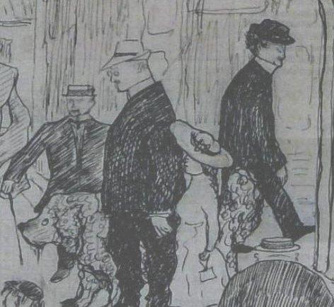 MUNCH: Utsnitt av en tegning av Guido Schjølberg fra Kragerø 1911. Tom Perker med datteren Winfrid i hånden. Bak kommer Edvard Munch gående. (Berg-Kragerø museum)