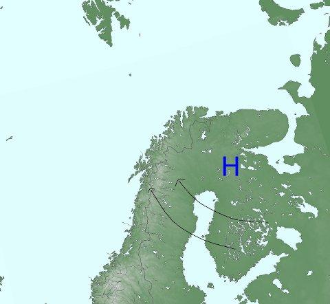 Kartet fra meterologene på Twitter kan gi knallvarme i Salten i helgen.