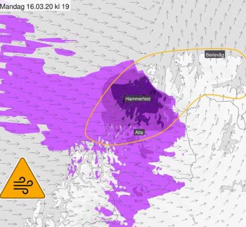 ORANSJ FAREVARSEL: Det er ventet storm i kastene i Finnmark i løpet av mandagen.
