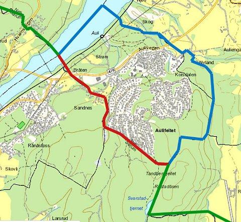 ALTERNATIV LILLESTRØM: Eksisterende grense som oppheves (rød), ny grense (blå) og eksisterende grense som opprettholdes (grønn). (Illustrasjon: Fylkesmannen)