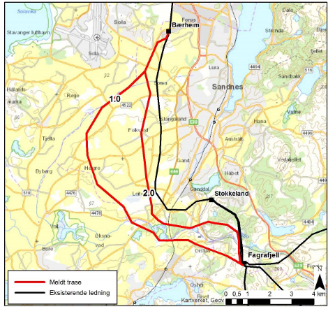 Slik er traseen mellom Fagrafjell og Bærheim planlagt.