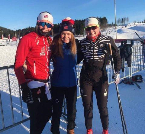 STAFETTLAGET: Fra venstre: Hanna Kristine Larsen, Vera Kristina Flatland og Vilde Elisabet Flatland utgjorde det historiske Heddal-laget på Nm-stafetten.