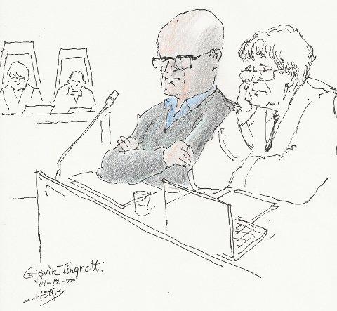 FORKLARER SEG: Tidligere daglig leder Terje Lofthus (t.v.) ved siden av sin forsvarer Christian B. Hjort. Tegning: Herb