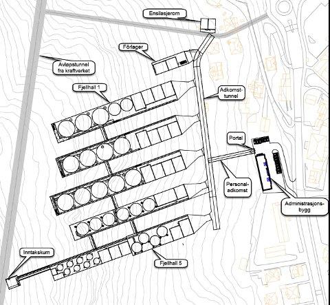 ENORME DIMENSJONER: En flomtunnel vil gå i fjellet mellom Sandvinvatnet og Sørfjorden vest for Odda sentrum. Lingalaks har planer om fem fjellhaller for produksjon av stor smolt, pluss et kontorbygg nord for Hestavoll barnehage. Illustrasjon: Lingalaks