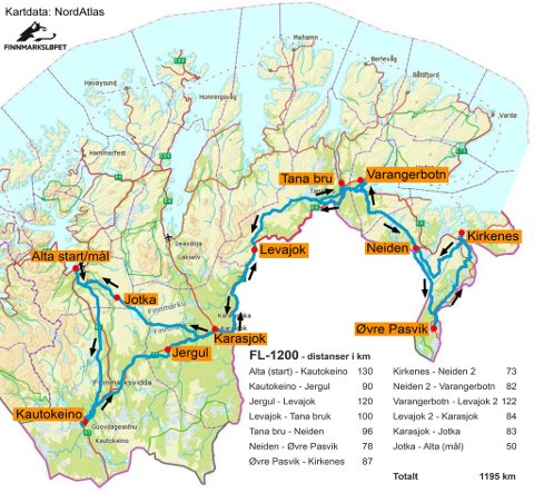 FL-1.200: Her er traseen for Finnmarksløpet 1.200 km. neste år.